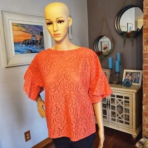 White House Black Market Coral Bell Sleeve Blouse